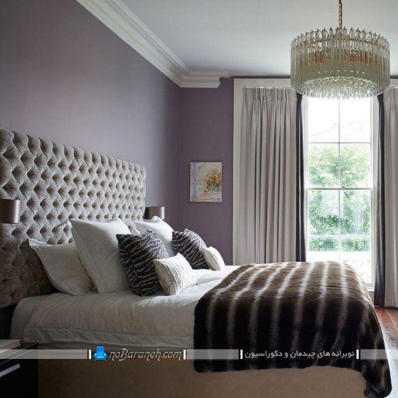 دیزاین اتاق خواب با رنگ بنفش