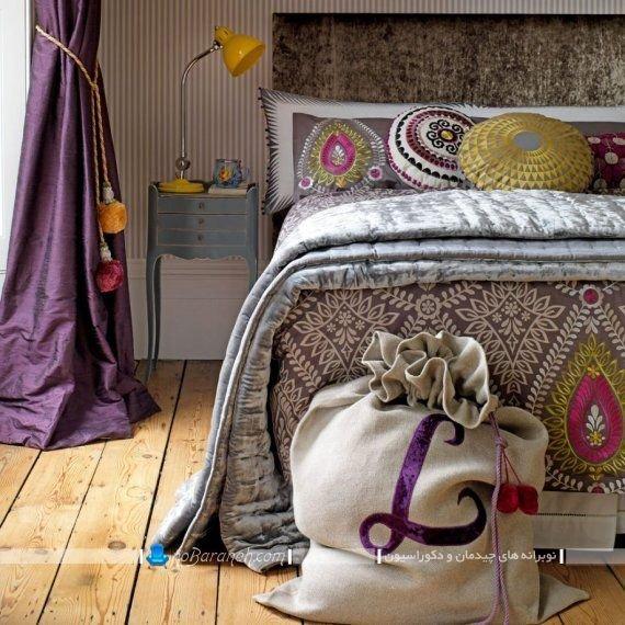 مدل پرده بنفش رنگ ساده و ارزان قیمت برای تزیین اتاق خواب
