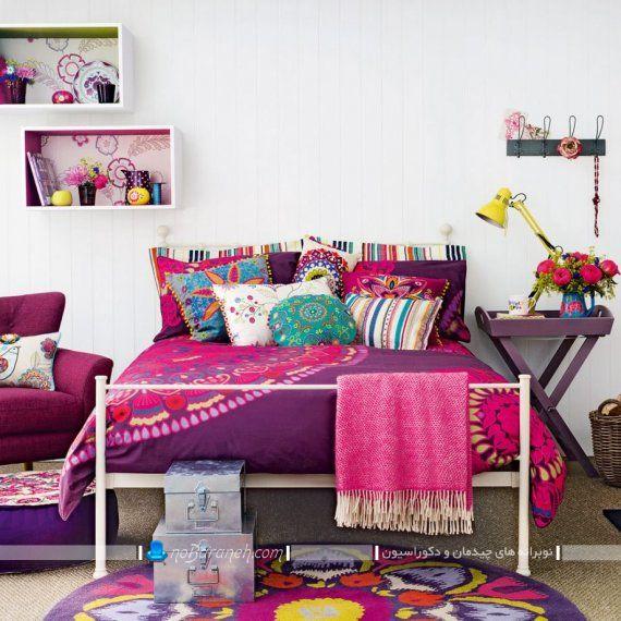 تزیین اتاق خواب با رنگ بنفش و صورتی
