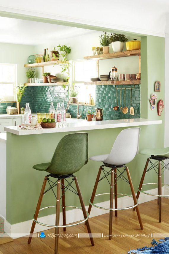 تزیین دیوار بین کابینتی آشپزخانه با رنگ سبز