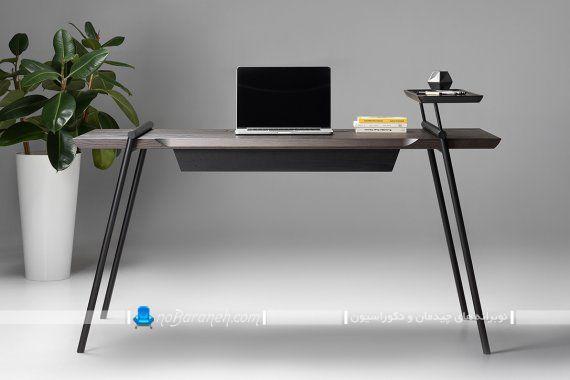 میز تحریر چوبی و فلزی. میز تحریر ساده و ارزان مدرن. میز تحریر چوبی با پایه فلزی