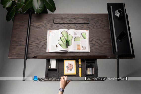 مدل جدید میز تحریر چوبی و فلزی. میز تحریر چوبی و ساده کشو دار برای اتاق خواب دانش آموز دانشجو