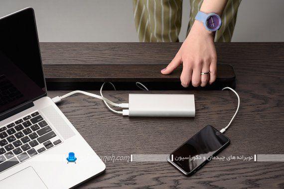 میز تحریر مدرن با بدنه چوبی و پایه فلزی. مدل جدید میز تحریر چوبی مناسب لپ تاپ