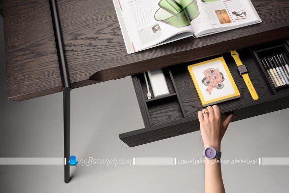 میز تحریر چوبی و فلزی مدرن و شیک. میز تحریر چوبی با پایه های فلزی ظریف