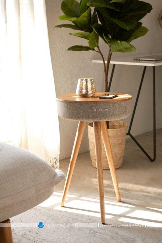 میز عسلی چوبی شارژر دار با اسپیکر بلوتوث