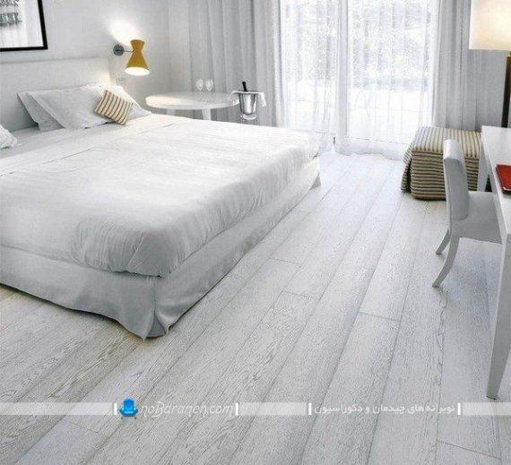 کفپوش پارکت و لمینت ارزان قیمت برای اتاق خواب با رنگ خاکستری و طوسی. مدل های جدید و مدرن کفپوش چوبی منزل با جنس لمینت
