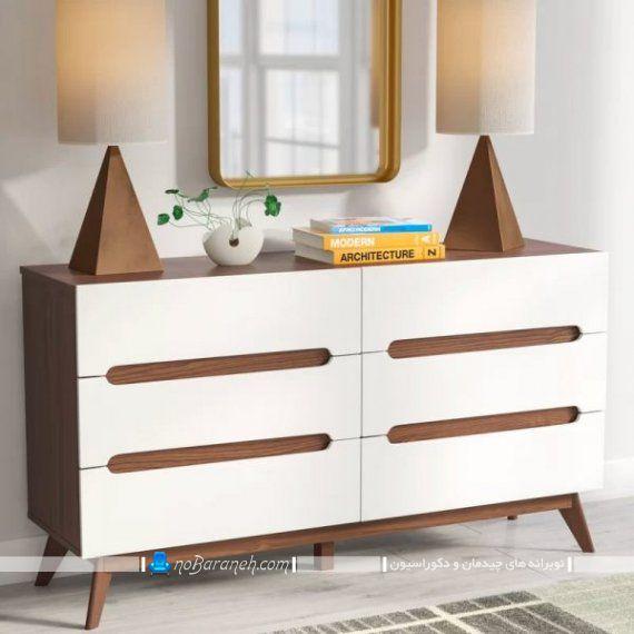 دراور چوبی سفید. کنسول و دراور چوبی فانتزی و مدرن در مدل های جدید با آینه دیواری و آباژور تزیینی رومیزی