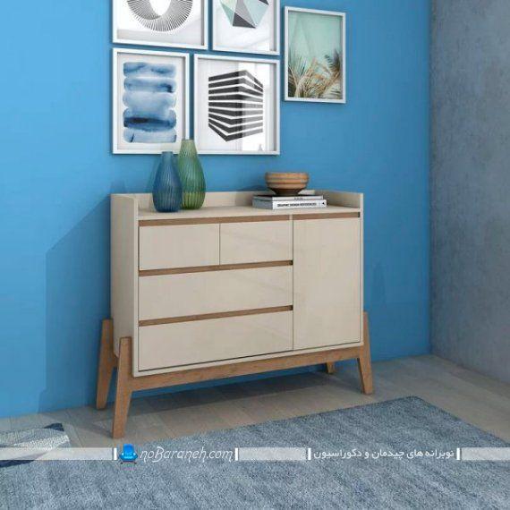 دراور ام دی اف شیک و ساده در جدید ترین طرح ها و مدل ها برای دکوراسیون اتاق خواب و پذیرایی. کمد لباس و دراور نیمه فانتزی و مدرن با تزیینات دیواری برای بالای آن