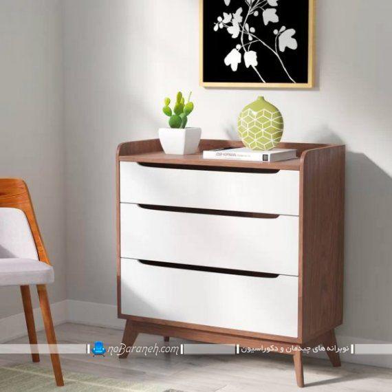 دراور سفید و طرح چوب برای اتاق خواب