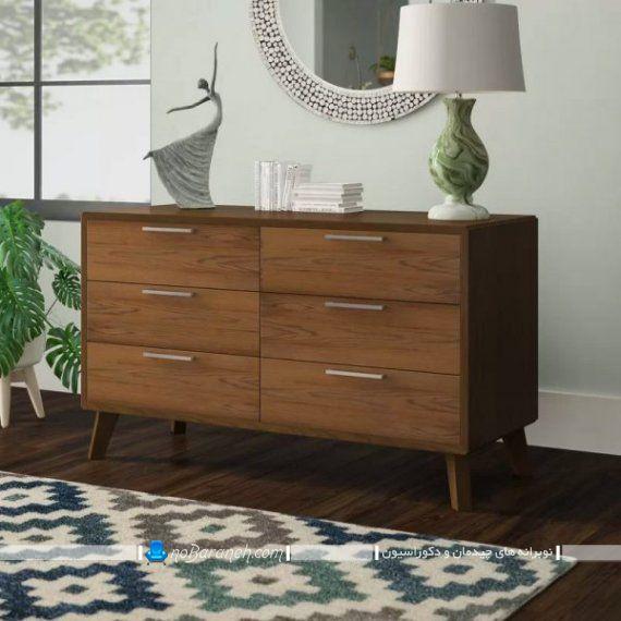 دراور آینه دار چوبی نیمه کلاسیک برای تزیین اتاق پذیرایی. مدل کنسول چوبی شیک و کلاسیک برای چیدمان در پذیرایی و اتاق خواب.