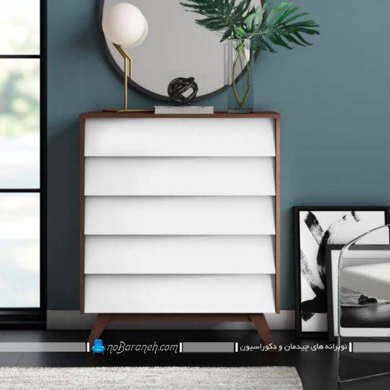 مدل های شیک و مدرن دراور چوبی آینه دار. دراور و آینه فانتزی با رنگ سفید و قهوه ای. مدل آینه گرد دیواری برای تزیین بالای دراور و کنسول و کمد لباس. مدرن ترین مدل دراور و کنسول چوبی سفید و قهوه ای شیک زیبا با پنج کشو
