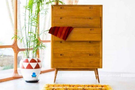 دراور چوبی کلاسیک پنج کشو با ارتفاع زیاد و بلند. مدل های کلاسیک و سنتی دراور و کنسول چوبی ساده و ارزان قیمت