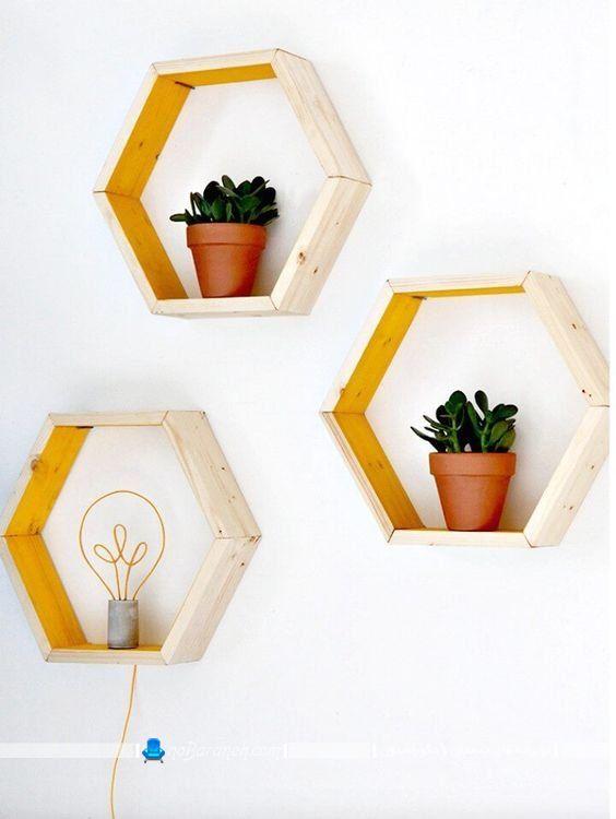 طاقچه و شلف شش ضلعی دیواری / باکس