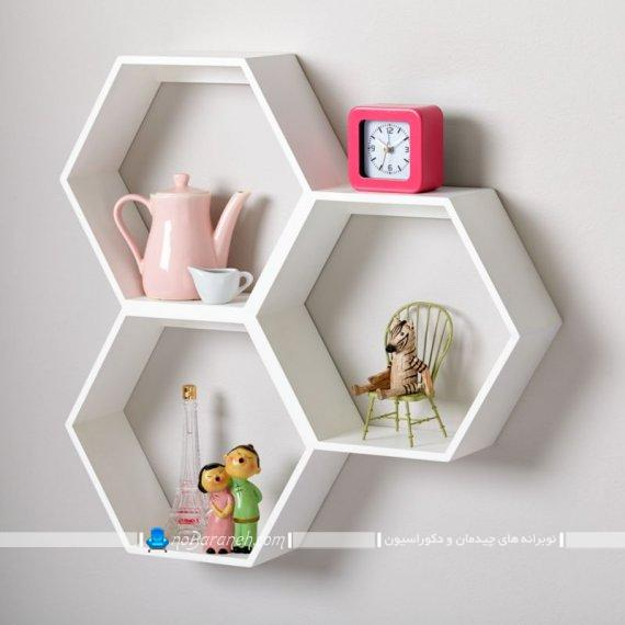 شلف دیواری سفید رنگ با طراحی جدید برای اتاق کودک. مدل شلف های تزیینی و دیواری شیک برای تزیین اتاق بچه ها