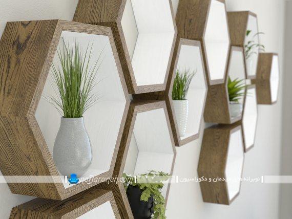 باکس های چوبی مدرن و چند تکه برای دیزاین دیوار اتاق پذیرایی. مدل های جدید باکس و شلف چوبی چند تکه دکوراتیو و دکوری
