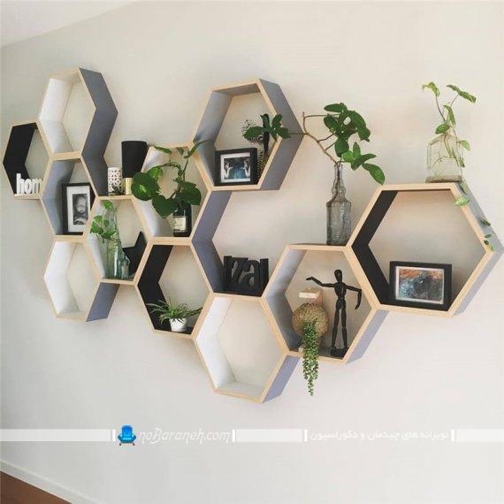 مدل های چیدمان و نصب شلف شش ضلعی چوبی و تزیینی دکوراتیو ارزان قیمت برای گلدان و چیدمان کتاب ها