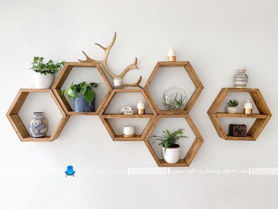 تزیینات دیواری شیک به شکل باکس و شلف چند تکه دکوری و شیک تزیینی مدرن و جذاب. تزیینات دیواری ارزان قیمت برای اتاق پذیرایی