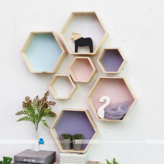 جدیدترین مدلهای شلف و باکس چوبی دیواری خام برای تزیین دیوار اتاق خواب و پذیرایی یا منزل. طرح های متنوع و جدید شلف و باکس تزیینی