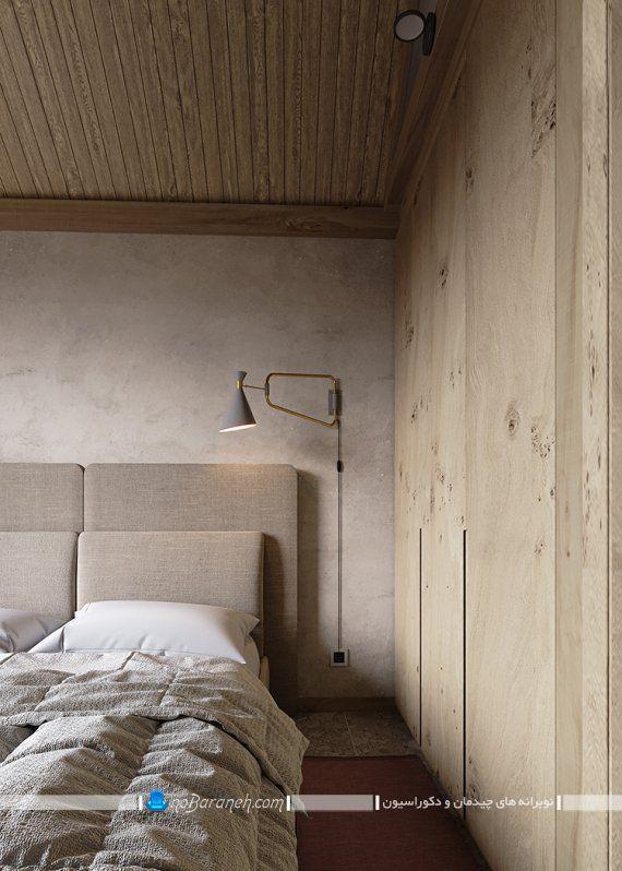 دکوراسیون مدرن اتاق خواب با دیوار چوبی
