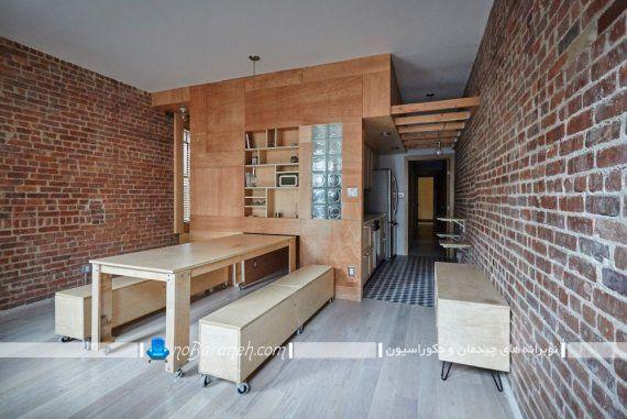 میز ناهارخوری هشت نفره کمجا. مدل میز نهارخوری کوچک برای خانه های کوچک آپارتمانی. ساده ترین مدل میز ناهارخوری