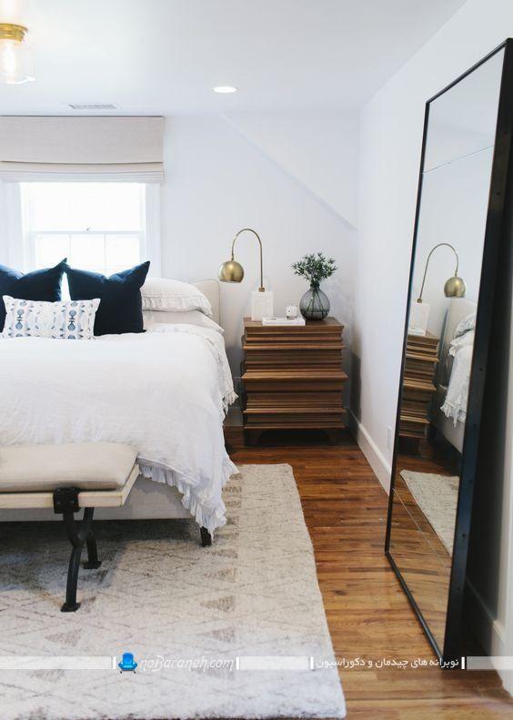 تزیین اتاق خواب با آینه بزرگ و عریض