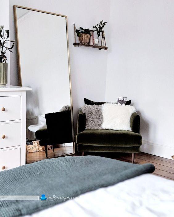تزیین اتاق خواب با آینه بزرگ و عریض ارزان قیمت. مدل های ارزان قیمت آینه تزیینی دکوراتیو شیک برای دیزاین اتاق خواب و پذیرایی. آینه قدی قاب دار شیک زیبا ساده مینیمال
