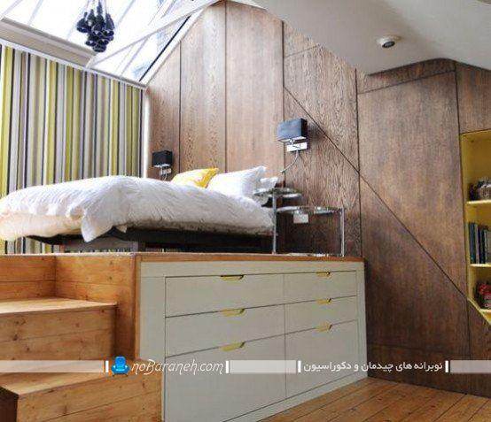 دکوراسیون اتاق خواب نیمه دوبلکس. مدل های کمد و دراور برای اتاق خواب های کوچک، دکوراسیون چوبی و شیک اتاق خواب عروس و داماد. طراحی دکوراسیون و تزیین اتاق عروس