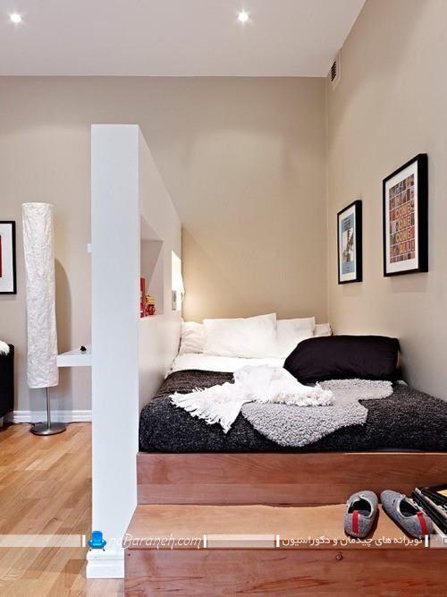 تخت خواب چوبی نیمه دوبلکس. اتاق خواب خیلی کوچک دوبلکس و شیک. دکوراسیون اتاق عروس با مساحت و متراژ خیلی کوچک