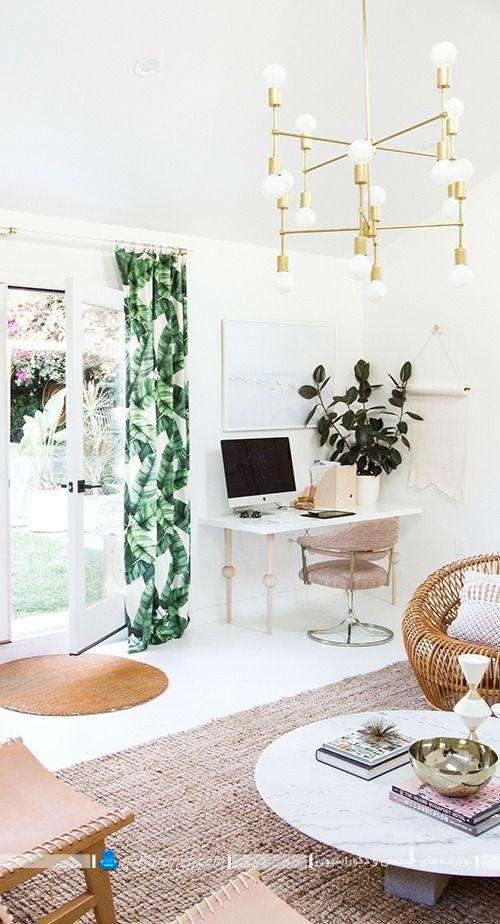 تزیین منزل با پرده های طرح دار سبز رنگ