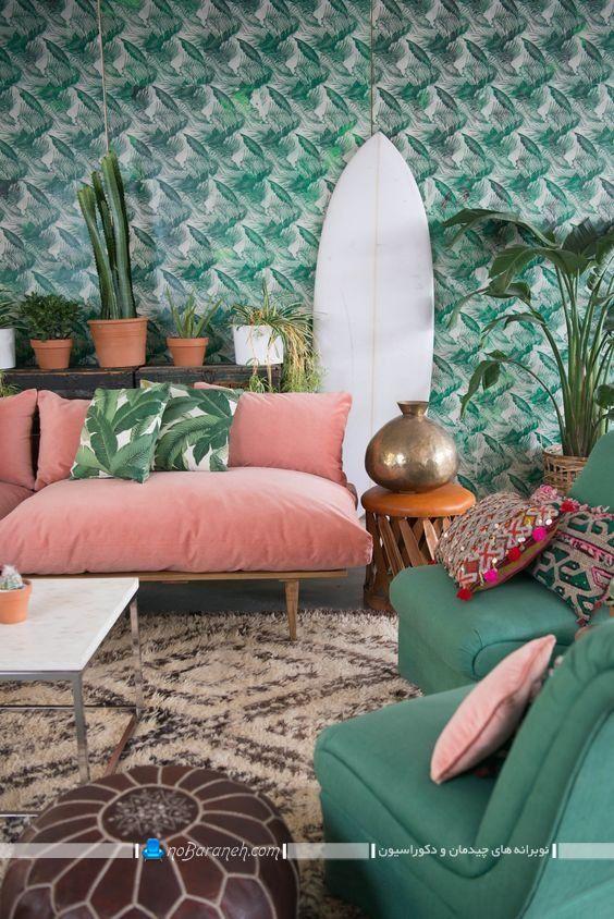تزیین اتاق نشیمن با کاغذ دیواری سبز رنگ با طرح برگ