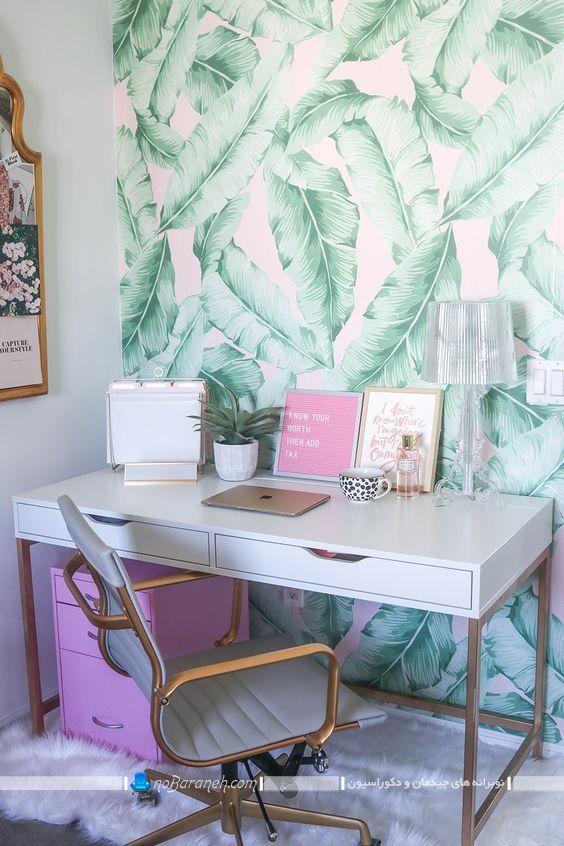تزیین دیوار پشت میز تحریر با کاغذ دیواری طرح برگهای سبز