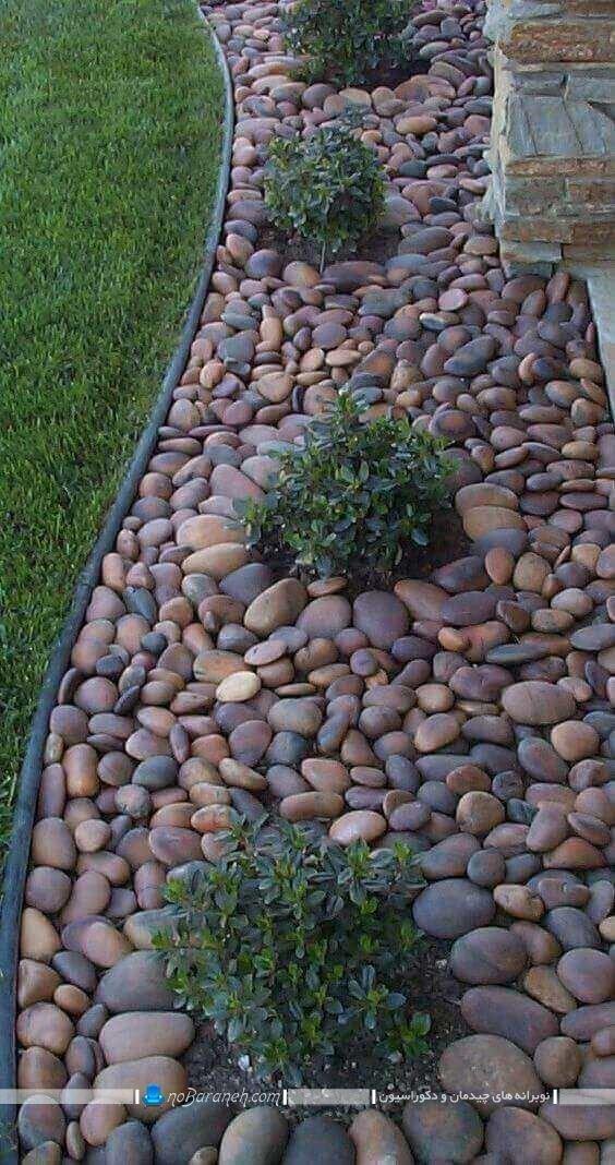 تزیین فضای باز باغ و ویلا با سنگ
