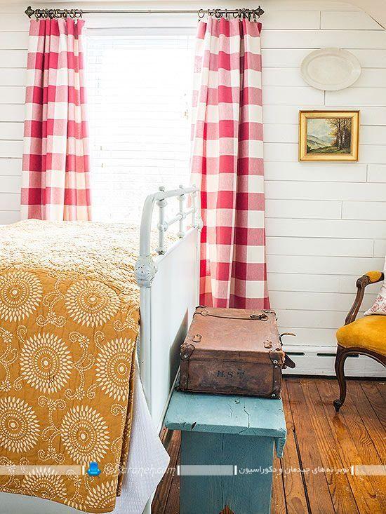 مدل پرده شیک و کلاسیک چهار خانه شطرنجی قرمز رنگ ارزان قیمت در طرح های زیبا برای اتاق عروس.