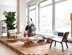 دوبلکس چوبی در اتاق پذیرایی