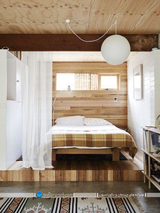 اتاق خواب دوبلکس با یک پله اختلاف سطح. دکوراسیون چوبی شیک و مدرن اتاق خواب. ایده های شیک مدرن زیبا برای دیزاین چوبی اتاق خواب عروس