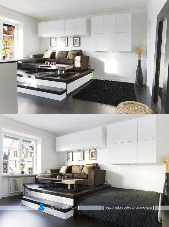 مدل تخت خواب نیمه دوبلکس و کمجا. مدل های چیدمان تخت خواب کمجا در اتاق خواب. دکوراسیون اتاق خواب با سفید و مشکی. عکس دکوراسیون شیک مدرن اتاق خواب و مدل تخت خواب کمجا ریلی