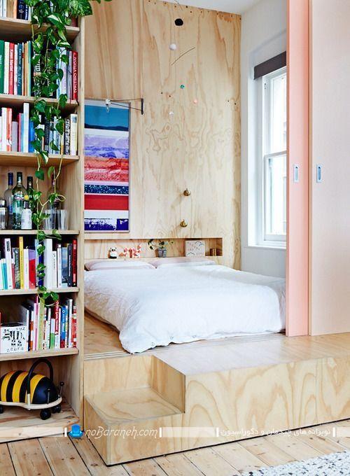 تخت خواب چوبی نیمه دوبلکس. مدل دکوراسیون چوبی در اتاق خواب عروس. دکوراسیون شیک اتاق خواب کوچک