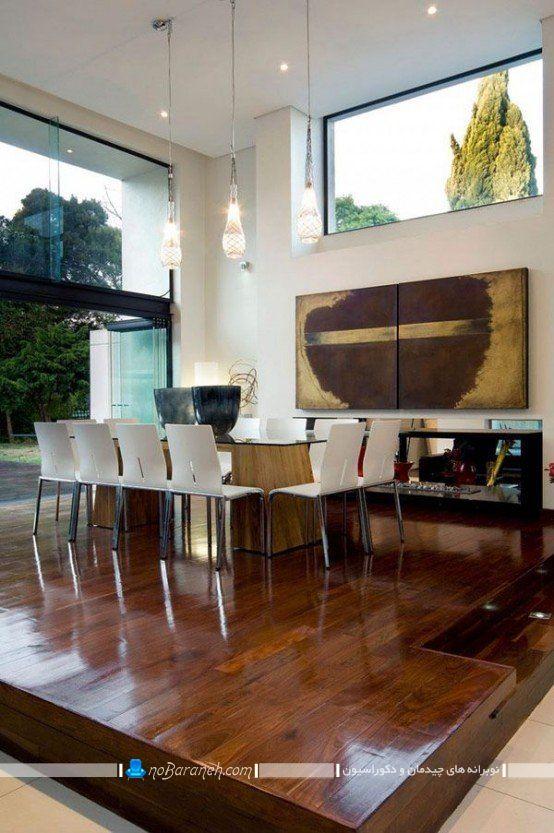 طراحی نیمه دوبلکس اتاق ناهار خوری و ایجاد اختلاف سطح با صفحه های چوبی.