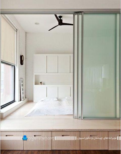 عکس اتاق خواب دوبلکس چوبی. مدل درب ریلی شیشه ای برای اتاق خواب عروس. دکوراسیون ساده و مینیمال اتاق خواب