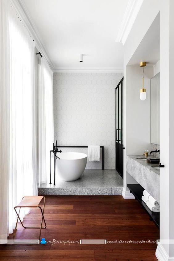 چیدمان وان حمام به شکل دوبلکس در سرویس بهداشتی