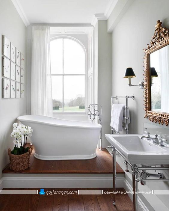 چیدمان وان حمام به شکل دوبلکس در سرویس بهداشتی با هزینه کم و ارزان