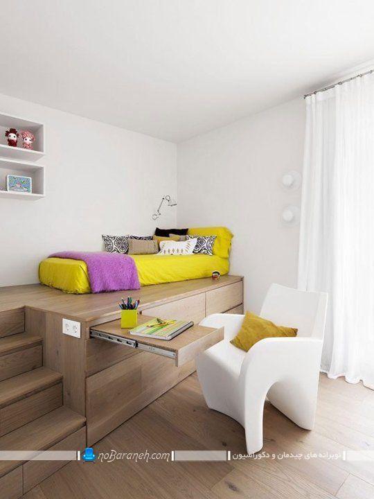 تخت خواب تک نفره دوبلکس اتاق خواب. میز تحریر ریلی و کمجا برای اتاق دوبلکس. طراحی دکوراسیون چوبی اتاق خواب تک نفره