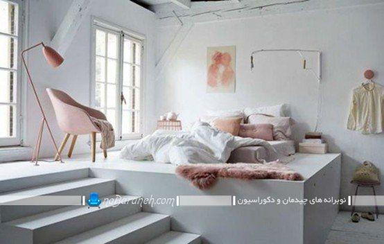 اتاق خواب عروس با طراحی دوبلکس. دکوراسیون و چیدمان ساده و ارزان قیمت شیک اتاق عروس و داماد دو نفره.