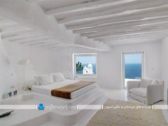 اتاق عروس دوبلکس با دکوراسیون سفید. مدل های چیدمان تخت خواب در اتاق های کوچک و بزرگ. مدل دکوراسیون اتاق خواب با رنگ سفید