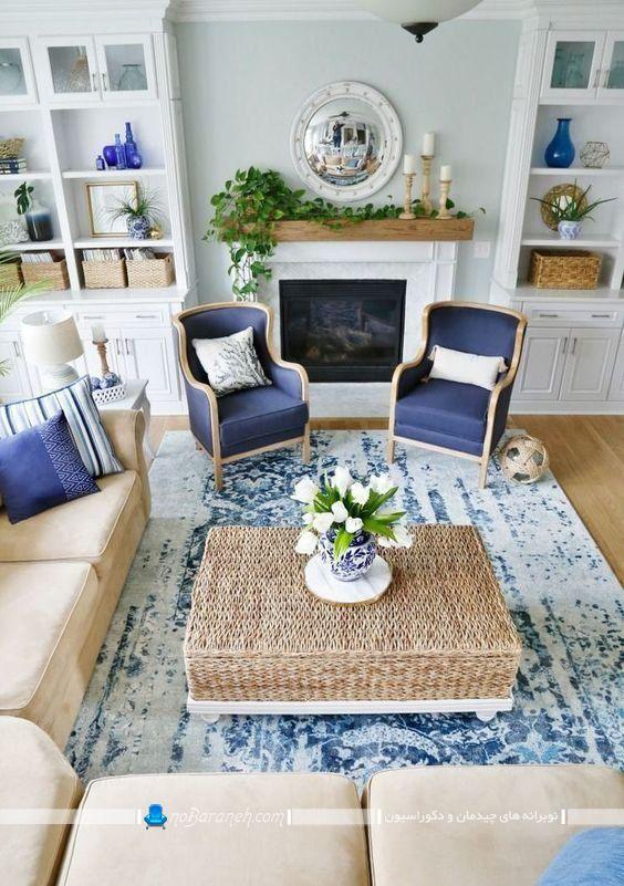 دیزاین اتاق پذیرایی با رنگ آبی و سفید