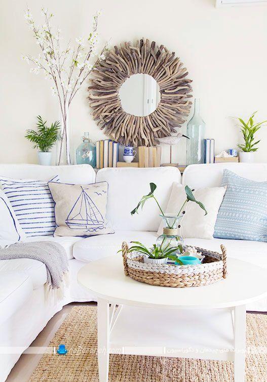 تزیین اتاق پذیرایی با آبی و سفید