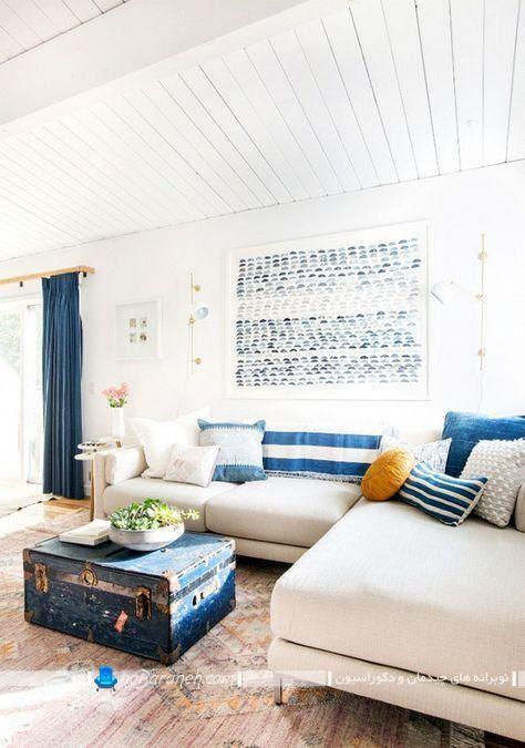 تزیین اتاق نشیمن با سفید و آبی
