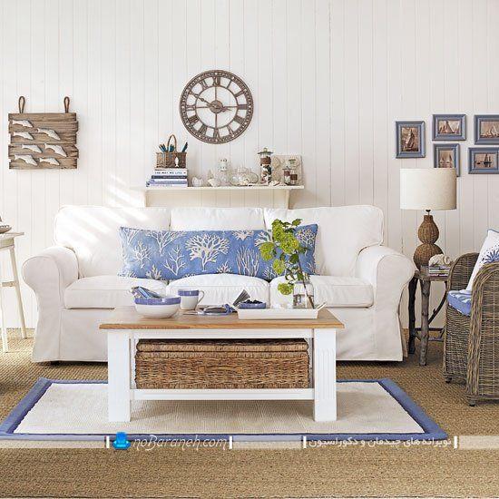 دکوراسیون سفید و آبی در اتاق نشیمن