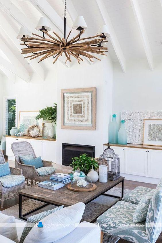رنگ آمیزی اتاق پذیرایی با آبی و کرم و قهوه ای