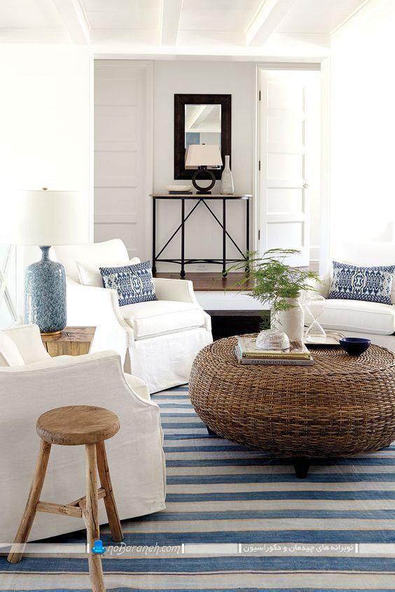 دکوراسیون اتاق نشیمن با آبی و سفید